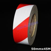 Wholesale mmx45M Red amp Silver Stripe Reflective Film Self adhesive Tape Reflective Tape Sticker For Truck Car Motorcycle Warning Tape