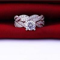 Mode Amour Simulé Diamant CZ Engagement de mariage Bnd Bague pour les femmes Sets Bijoux Argent 925 nuptiale