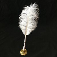 Wholesale Jumbo Vintage Ostrich Feather Pen Wedding Signing Pen Guest Book Pen Wedding Reception Accessories
