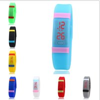 Wholesale 2016 Sports Rectangle Led Digital Display Touch Screen Watches Rubber Belt Silicone Bracelets Wrist Watches Rainbow Silicone Watches