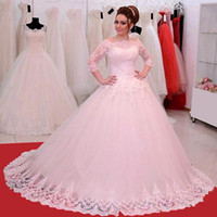 beautiful quarters - Charming Ball Gown Wedding Dresses Floor Length Lace Applique Bride Dress with Three Quarter Sleeves Beautiful Tulle Bridal Gown
