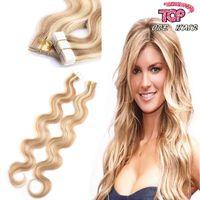 Under $80 remy tape hair extensions wholesale - 8A Brazilian peruvian european human hair straight PU tape on hair tape in hair extensions g pack
