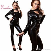 sexy leather catsuit - Sexy Women Faux Leather PVC Fetish Gothic Bodysuit Sexy Cat Girl Cosplay Costumes Seal Jumpsuit Catwoman Latex Catsuit Halloween Costumes