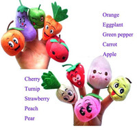 Wholesale 1000pcs CCA2890 High Quality set Fruit Veggie Finger Puppets Educational Toys Fantoches Baby Different Fruits Green Stuffed Puppets