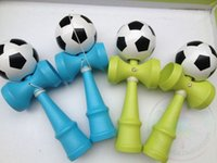 Wholesale DHL In Stock cm big size Funny Japanese Traditional Wood Game Toy Kendama Ball Soccer Football Print kendama