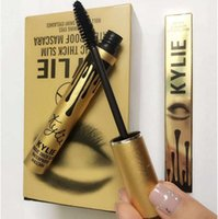 Wholesale NEW kylie Jenner Birthday cosmetic mascara Magic slim black eye mascara thick waterproof lashes Long eyelash charming gold Package free dhl