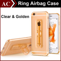 airs kickstand - Ring Clear Airbag Ultrathin Soft TPU Stand Case For iPhone S SE S PLus S7 Edge Anti shock Shockproof Cover Transparent Air Float Skin