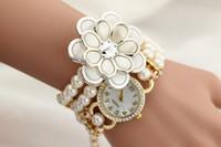 belt buckles personalized - Fashion Elegant Women Personalized Flowers Belt Pearl Bracelet Watch Quartz Wristwatch Beautiful Gifts