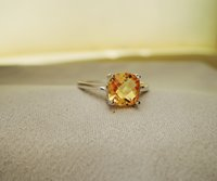 Cheap Hot sale luxury ring 2ct high quality 100% natural citrine ring real 925 Solid Sterling Silver jewelry for lady wedding ring