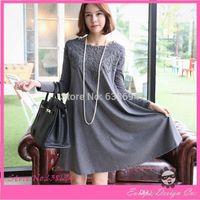 big abdomen - Autumn and Winter Maternity Dress Plus Size Grey Lace Dress Big Abdomen Loose Casual Dress Knee length Dress For Pregnant Women