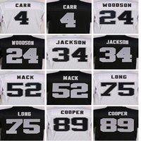 Wholesale Best quality jersey Men s Derek Carr Charles Woodson Bo Jackson Khalil Mack Amari Cooper elite jersey White Black