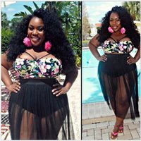 Cheap High Waist Swimwear New Mesh Bikini Set Plus Size Swimwear for Women Padded Swimsuit Retro Long Skirt Bathing Suit L-4XL