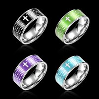 bible colors - European and American fashion new colors Bible titanium steel ring