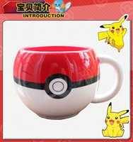 Wholesale Cute Poke Go Pokeball cups Pikachu mug Ceramic Coffee Mugs Tea Water Bottle Cup for Christmas gifts