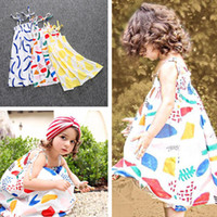 american graffiti - 2016 summer BOBOCHOS INS hot baby girl dress sleeveless strap graffiti print dress little girl toddler beach dress Cute T T T T T one