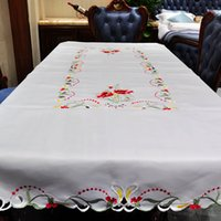 Wholesale New High Quality Polyester Satin Jacquard Embroidery Floral white Tablecloths Cutwork by Hand Embroidered Table Cloth cm