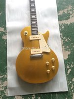 Wholesale Top Quality Factory LP Gold Top Frets Binding One Piece Neck P90 pickups Electric Guitar In Stock Free Ship