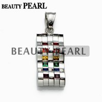 Wholesale 316L Stainless Steel Cubic Zirconia Rainbow Wave Pendant with Necklace Chain for Gay and Lesbian LGBT Pride
