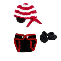 Unisex Summer Acrylic Newborn Knit Pirate Costume,Handmade Crochet Baby Boy Girl Pirate Hat Eye Patch Diaper Cover Booties Set,Infant Halloween Costume Photo Prop