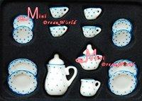Wholesale Dolls Accessories Doll Houses OF Blue Dot Dollhouse Miniature porcelain China Coffee Tea Lid Pot Cups DC129