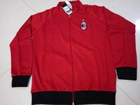 Wholesale Benwon AC Milan red long sleeve soccer jackets outdoor leisure fooball coat thai quality men s winter football hoody sports jackets
