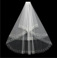 beaded hair net - New Fashion White Ivory Short Two Layers With Comb Bridal Veils Wedding Accessories Beaded Edge Pearls Hair Accessory