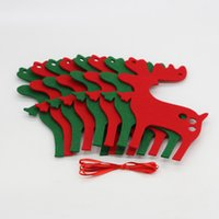 Wholesale Christmas Ornament Elk Deer Felt Pennant Flag Banner Triangle Bunting Decorations Home Party Decor set