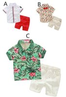 beach boys clothing - Newly European Style Boys Summer Outfits Fashion Print Shirts Denim Pants Short Sets Boys Summer Beach Tracksuits Kids Clothing Sets
