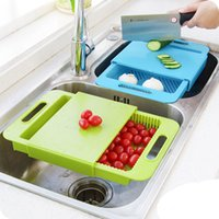 Wholesale 3 In Kitchen sink cutting board removable chopping blocks drainage with drain basket shelf kitchen accessories