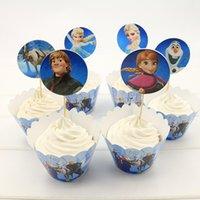 achat en gros de reine topper-Snow Queen Elsa Anna Cupcake Wrapper et Toppers pour enfants Décoration de Noël de fête d'anniversaire Fournitures Artisanat décoratif H210905