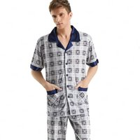 bamboo loungewear - On Sale Short Sleeved Men s Sleepwear Classic Cotton Plaid Pajama Sets Plus Size Loungewear Mens Pajamas Best Gifts For