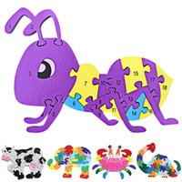 Wholesale 3D Animal Wood Puzzle Children Number and Letter Learning Toy Colorful Elephant Dinosaur Crab Cow Ant Jigsaw Puzzles