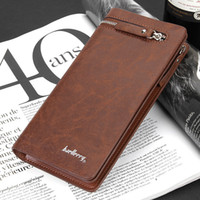 Wholesale Brand Baellerry Men s Wallet Business Style Card Holder Coin Purse Black Brown Men s Long Zipper Clutch Men PU Leather Wallet
