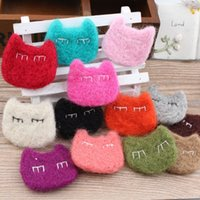 assorted material hair - Assorted Color Handmade Animal Cat Head Wool Felt Product Girl Hair Jewelry Toy Craft DIY Accessory Material