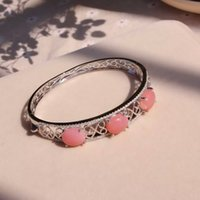 Wholesale iVeeka Jewelry Natural Gemstone Bangle Sterling Silver Australia Rose Quartz Qualitied Carved bracelet