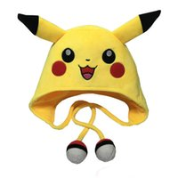 Wholesale Poke Center Pikachu Pokeball Plush Hats Dolls Stuffed Toys Cosplay Winter Hat Cap Cartoon Animal Hat Cute For Adults Children