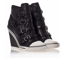 ash buckle sneaker - Ash Sneakers Thelma Wedge Black Leather Woman Ash Shoes High Top Classic Women ASH Casual Trainers
