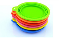 Wholesale Colorful Dog Pet Portable Silicone Collapsible Travel Feeding Bowl Water Dish Non toxic silicone Feeder Bowl Colors