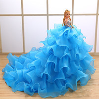 Wholesale Exquisite Handmade Blue Wedding Dresses Barbie Doll Birthday Party Gifts Bridal Cake Topper Gift Crystal Decorations Organza