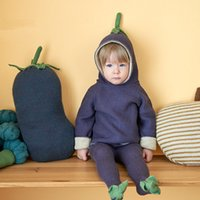 Wholesale New Arrival Autumn INS Baby Sweater Toddler Boy s Girl s Long Sleeves Hoody Knitted Outwear With Cap Purple Eggplant