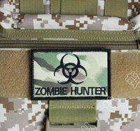 Wholesale Embroidery Zombie Hunter Tactical Patch Military Hook And Loop Morale Patches Cloth Camouflage Combat Badge Army Armband
