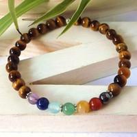 balance tiger - 7 Chakra tigers eye healing bracelet natural stone mala bracelet balancing bracelet yoga bracelet spiritual bracelet stretch bracelet