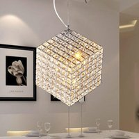 Wholesale Modern k9 square LED crystal chandeliers dining room lights kitchen lighting staircase lamp hanging lights light fixtures