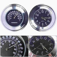 Wholesale 7 quot quot Motorcycle Bike Handlebar Black Dial Clock Temp Thermometer Fit For Universal Japan Motorbike for Harley MA166