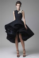 Wholesale 2016 Krikor Jabotian Lace Short Black High Low Prom Dress Short Front Long Back Mini Party Homecoming Dress Sleeveless
