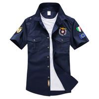 aviator shirt - Summer Mens Short Sleeve Cotton Aviator Shirt Men Shirts Solid Chemise Homme Aeronautica Militeare Mens Casual Shirt Men