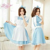 alice in the wonderland dress - 2016 White Cosplay Costumes Alice in Wonderland Maid dresses sexy sets women mini skirt COS animation clothing uniform