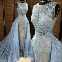 big sample size - Real Sample Sheer Jewel Collar Lace Applique Heavy Major Beaded Light Sky Blue Big Detachable Train Long Prom Evening Dresses E0202