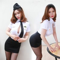 Wholesale MOXIAN Stewardess costume Sexy lingerie uniforms temptation role playing fun uniforms policewoman nightclub installed Black skirt tie B