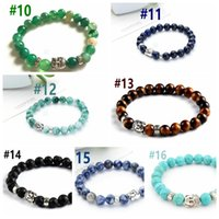 Wholesale Natural Stone bead Buddha Bracelets For Women and Men Silver Buddha Turquoise pulseras mujer Black Lava Bead Bracelet Mixed